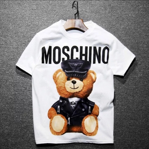 81cf2c0fe648f Used white and brown Moschino bear crew neck T-shirt for sale in Ottawa -  letgo
