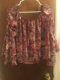 Women's brown and red floral blouse Bay Shore, 11706