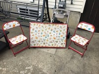 Vintage small Winnie the poo table and two chairs