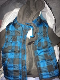 blue, gray, and black gingham zip-up hoodie Belmont, 28012