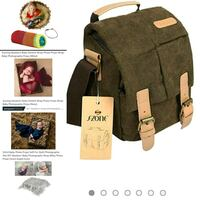 green and beige backpack with text overlay