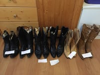 six pairs of brown and black leathers boots