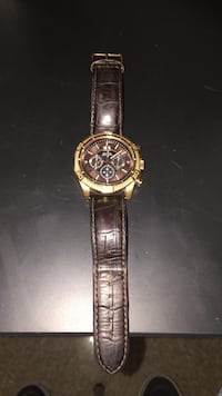 Round gold chronograph watch with brown leather strap Salado, 76571
