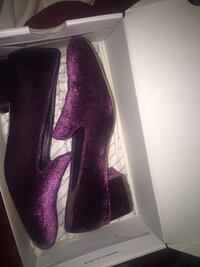 Pair of purple suede shoes in box Surrey, V3T 3R7