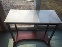 Rectangular brown wooden coffee table Marble side table $50 for all 3  47 km