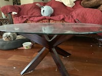 brown wooden framed glass top coffee table Plantation, 33317