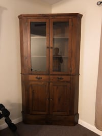 Brown wooden framed glass display cabinet Woonsocket, 02895