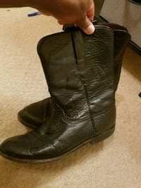 pair of black leather cowboy boots Dallas, 75231