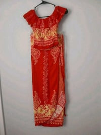 red and brown floral sleeveless dress 66 km