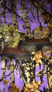 brown-and-black tree camouflage boots