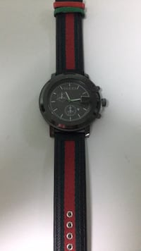round black chronograph watch with black leather strap Germantown, 20874