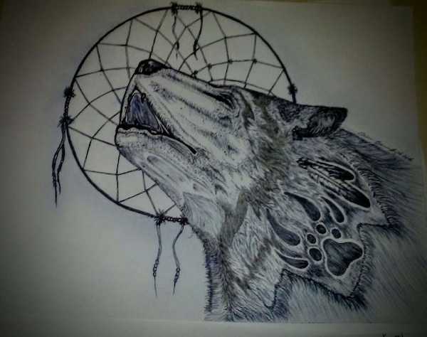 Used Wolf And Dream Catcher Illustration For Sale In Calgary Letgo Adorable Dream Catchers Calgary