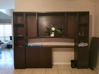 brown wooden TV hutch with flat screen television Mission, 78572