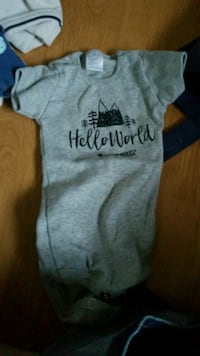 gray Hello World onesie Ajax, L1T 3M1