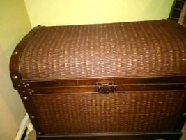 wooden inside chest bamboo outside excellent condition 2 1/2ft by 2 ft