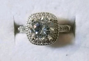 2.5 ct cushion cut sterling silver ring