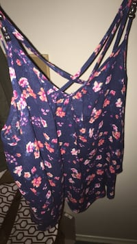women's blue and red floral camisole