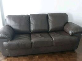 Excellent condition brown genuine leather couch