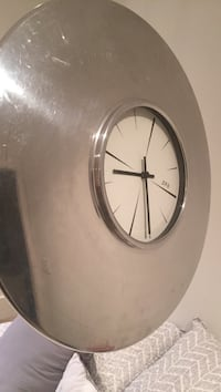 round stainless steel and white analog wall clock North Vancouver, V7L