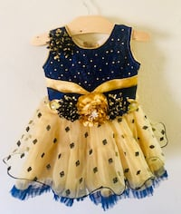 Golden n blue net n sequins partywear dress with headband n shoe ... almost new in condition .6 months to 18 months ... Mc Lean, 22102