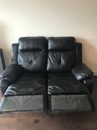 black leather 2-seat recliner