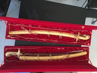 Two brass long swords with cases Rancho Cucamonga