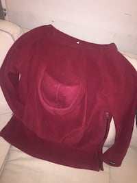 Burgundy fleece baby wearing sweater!  Toronto, M6N 2S2