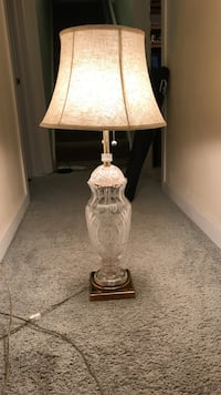 Antique Marbo glass cut lamp with brass base