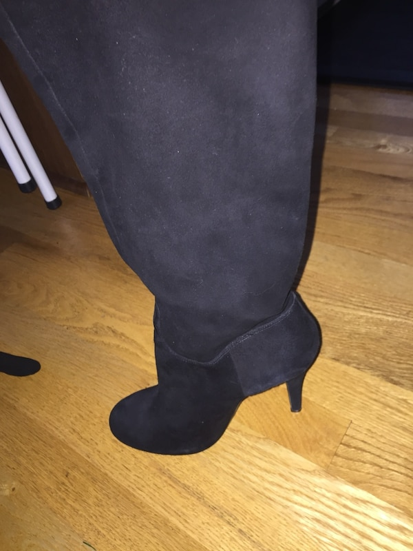 Black suede stiletto knee high boots