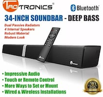 Soundbar Bluetooth speaker 34in with wall mount