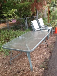 Outdoor dining set: Glass table with 6 chairs Portland, 97267