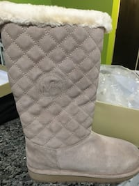 Quilted gray suede michael kors leather knee-high boot