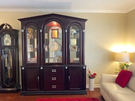 Vintage Cherry Wood China Cabinet