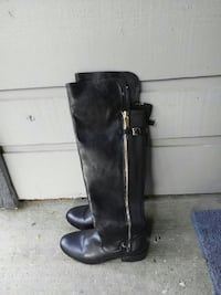 pair of black leather knee-high boots Spokane, 99212