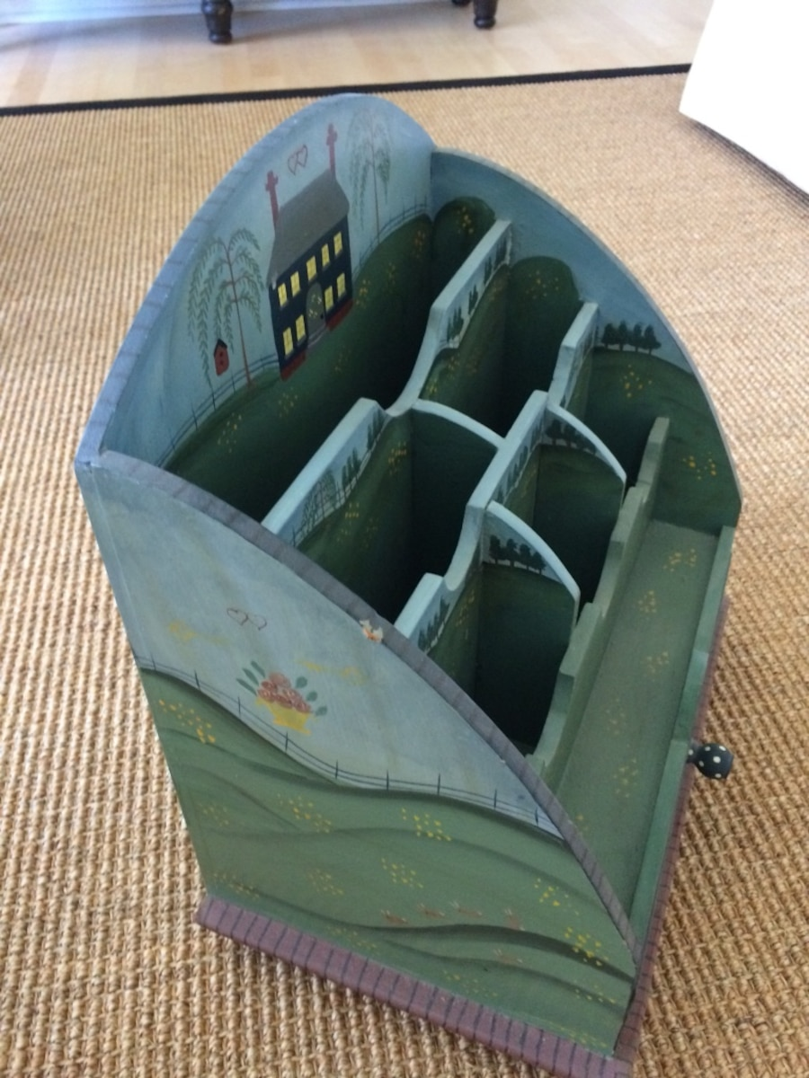 green and white wooden organizer - MN