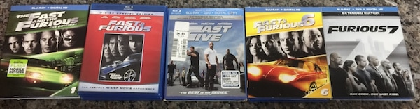 Fast And The Furious 1, 4, 5, 6 & 7 Blu Rays Like New With Sleeves