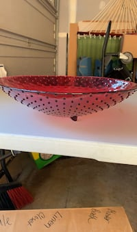 Decorative red glass bowl 15 inch diameter & 4 inches high. Collegeville, 19426