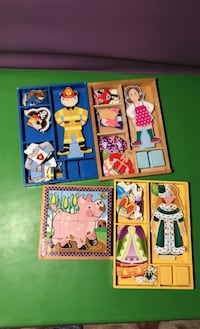 Magnet dress up dolls and farm animal puzzle