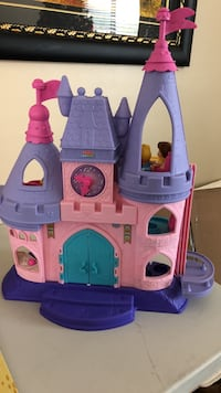 Pink and purple fisher-price little people castle toy