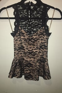 A'GACI Nude with Black Lace Blouse Dress Shirt Size XS extra small Chicago, 60608