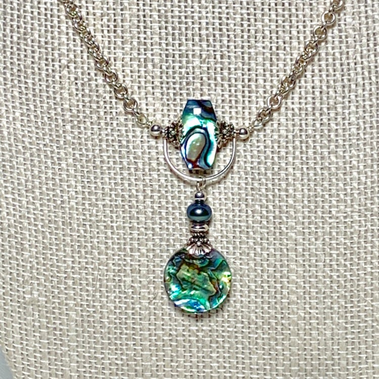 Genuine Sterling Silver Abalone Necklace a1ba6523-fe2b-49d5-9df9-8145bea8f506