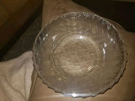 Medium Crystal Bowl with basketweave print