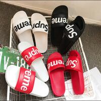 three pairs of white and red Adidas slide sandals Toronto, M9V 4C4