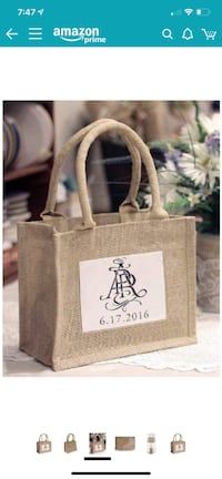 Mini Jute Gift Tote Bags w/Clear Pocket (10 pieces) Rocky Point, 11778