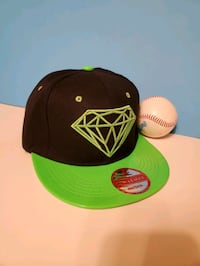 New League Black Green Diamond Snapback Hat