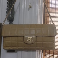 Chanel Tan Quilted  Bag Clutch Queens