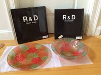 2Pc R+D Italian Design Colored Crystal Bowl And Plate West Newbury, 01985