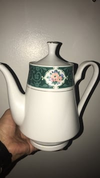 white and green ceramic teapot with lid North Vancouver, V7K 1A7