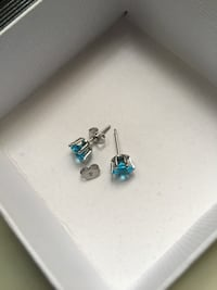 Swarovski Crystal turquoise earrings in 18k white gold