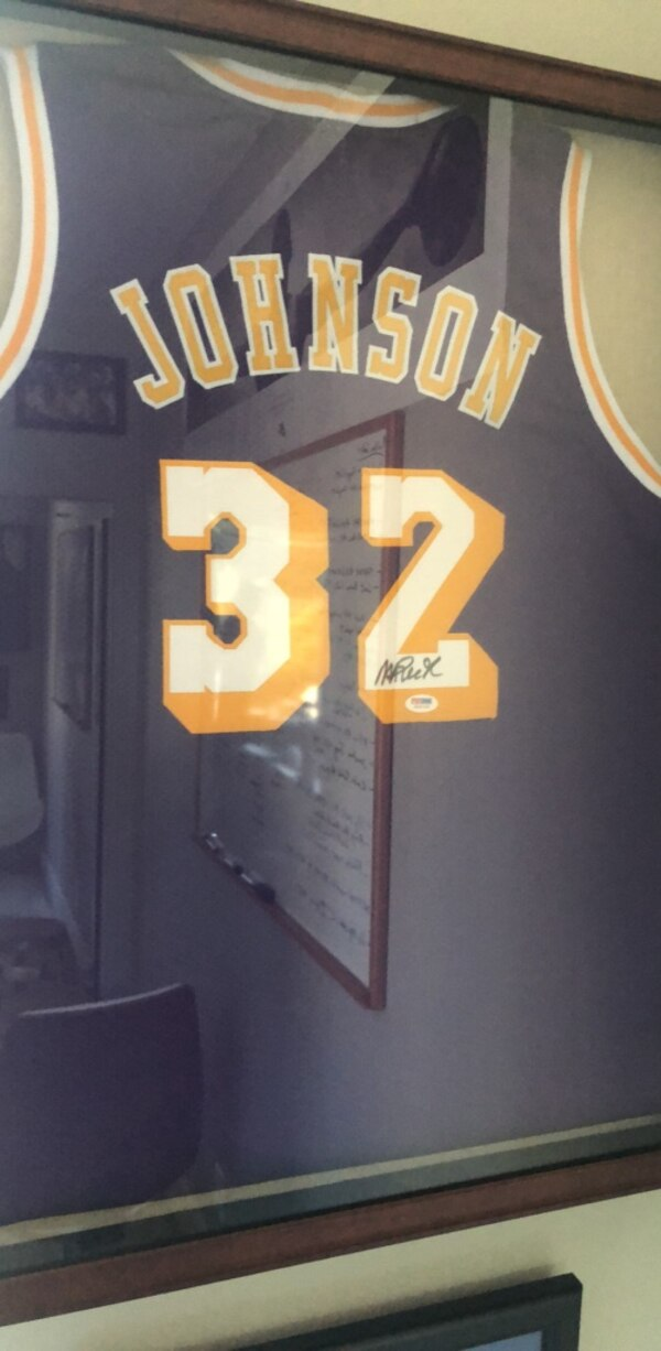 the best attitude 890af 32c01 Signed and framed magic Johnson jersey authenticated by PSA /DNA